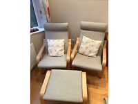2 Conservatory airmchairs and footstool, excellent condition