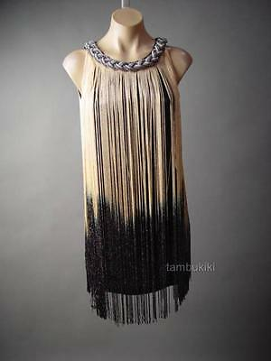 20s Themed Party Dress (Gold Black Ombre Fringe 20s Flapper Great Gatsy Theme Party 236 mv Dress S M)