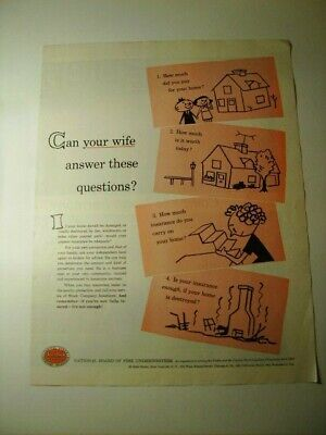 VINTAGE MAGAZINE AD ~ 1957 NATIONAL BOARD OF FIRE UNDERWRITERS HOME AD (ZYKZE16)