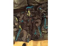 Black / Blue / Green & Grey Quicksilver Ski Jacket with Hood - Size / Age 10 Youth