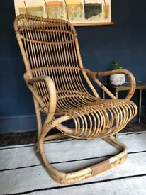 Antique bamboo rattan chair