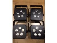 LEDJ Slimline 5Q5 RGBW LED Par Cans - Set of 4 with padded Accu case and remote control