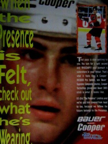 "Eric Lindros Philadelphia Flyers 1995 Bauer Original Regional Print Ad 8.5 x 11"""