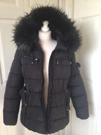 ladies desigher COAT / JACKET sz 12 Black Furry Hood