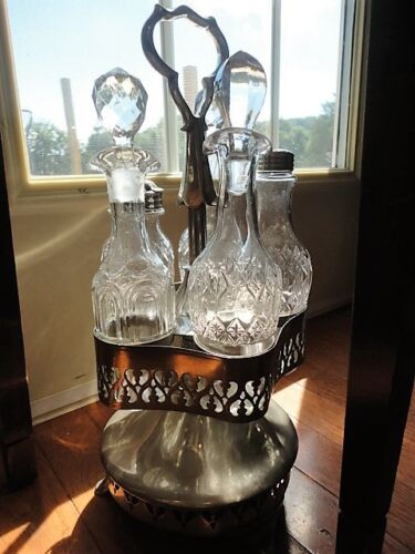 Roswelt Gleason Caster Set Cruet Condiment Set Antique #9575 Silver Plate Vintag