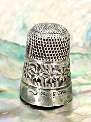 Antique English Silver Thimble James Fenton with Beautiful Design!!!