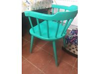 6 turquoise captain style dining chairs