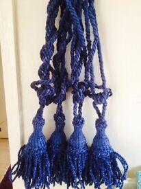SET of 4 LARGE DRAPERY VELVET ROPE TIEBACKS Tie Backs in navy blue