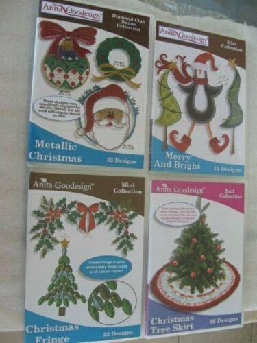 Christmas lot of 5 Anita Goodesign Embroidery Machine Design CD