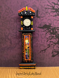 Dollhouse Miniature Painted Halloween Grandfather Clock Witch  Artisan K.Manuel