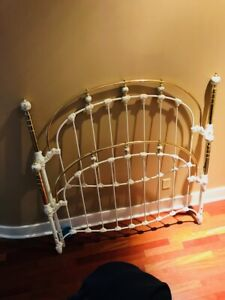 Antique Porcelain and Brass Bed Head/Footboard