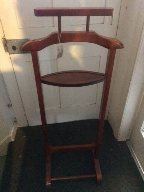 Beautiful Dark Wood Valet Stand for Men's Clothes