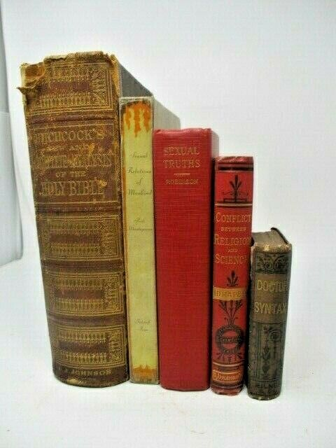 Lot of 5 Antique Books, Assorted Topics ~ History, Religion and Science