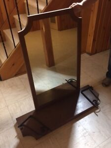 Good condition solid wood mirror and ledge for sale!
