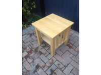 2x matching solid beech side tables
