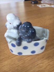 Nao Poodles and Dots Ref No 1082. ornament of 2 puppies in a basket. Good condition