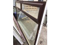 LARGE PVC WINDOW BROWN OUTER , WHITE INNER