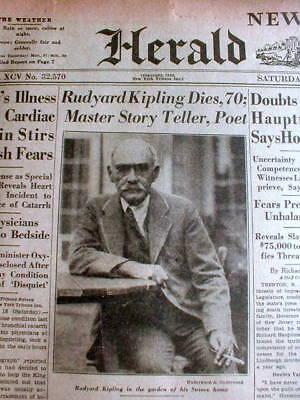 1936 display newspaper w pic British Author RUDYARD KIPLING DEAD The Jungle Book