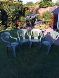 4 x Green Plastic Garden/Patio Chairs