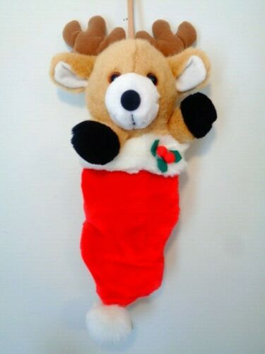Reindeer Pull Toy Musical Stuffed Animal Plush Dakin 1993 Baby Crib Vintage