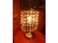 CRYSTAL GLASS CHANDELIER TABLE LIGHT WITH BRASS FITTINGS