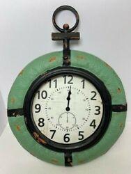 NAUTICAL THEME WALL CLOCK GREEN BLACK 19.5 x 15 x 3 QUARTZ HOME DECOR DNR