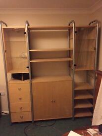 Ikea storage unit, bookshelf. Glass cabinets w/lights. Configurable