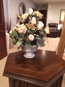 Silk Floral Centrepiece in  Ceramic Bowl