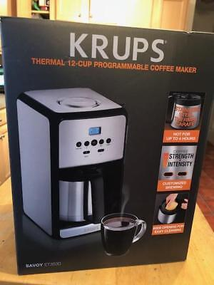 KRUPS, 12-Cup Programmable Thermal Filter Coffee Maker, Stainless Steel, Savoy E Digital Filter Coffee Maker