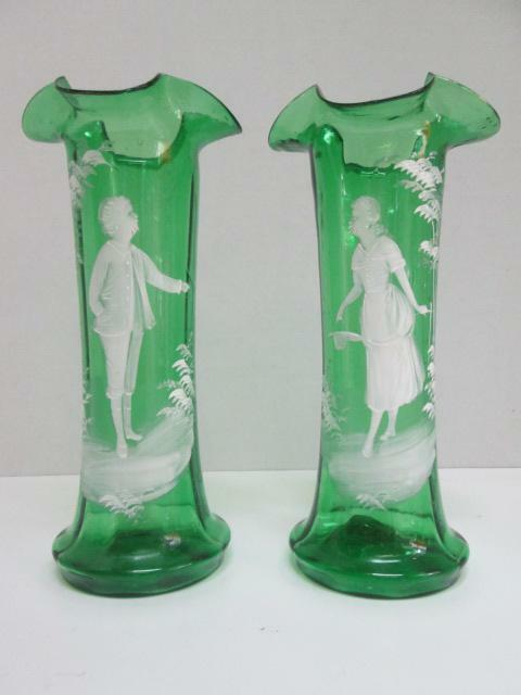 Elegant Pair of MARY GREGORY Cameo Vases Victorian EXCELLENT Green Art Glass