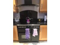 Rangemaster 90cm ceramic electric oven and hob black