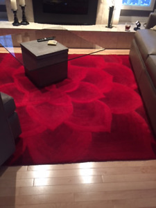 Red Wool Area Carpet