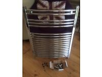 Chrome towel radiator with new valves