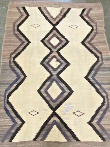"""Large Antique Navajo Rug Natural Eastern Reservation Style  97"""" x 70"""" ca. 1905"""