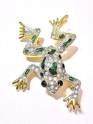 Pin Figural Muscular Bullfrog Frog Gold Tone Rhinestone Or Crystal Large Modern