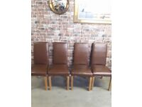 4 X TAN/BROWN LEATHER DINING CHAIRS
