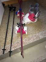 Kids skis, boots and poles