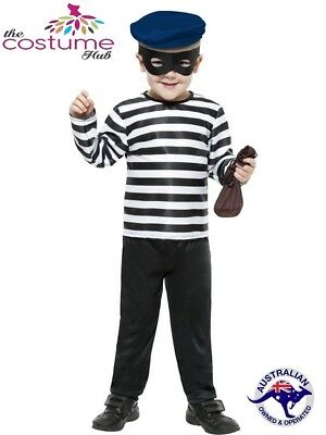 Kids Robber Costume (KIDS Boys Burglar Robber Fancy Dress Costume Prisoner)
