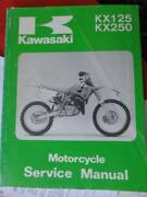 KAWASAKI KX125 & KX250 FACTORY WORKSHOP MANUAL c1990 Dianella Stirling Area Preview