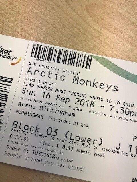 ARCTIC MONKEYS - Birmingham Arena Sunday 16th September 2 x tickets | in  Arnold, Nottinghamshire | Gumtree