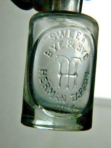 1885 Antique Tappan New York Perfume Bottle Sweet Bye & Bye Clear Glass Embossed