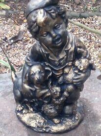 Lovely little bronze effect boy statue