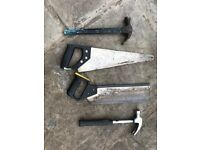 Selection of wood saws and claw hammers- free to a good home