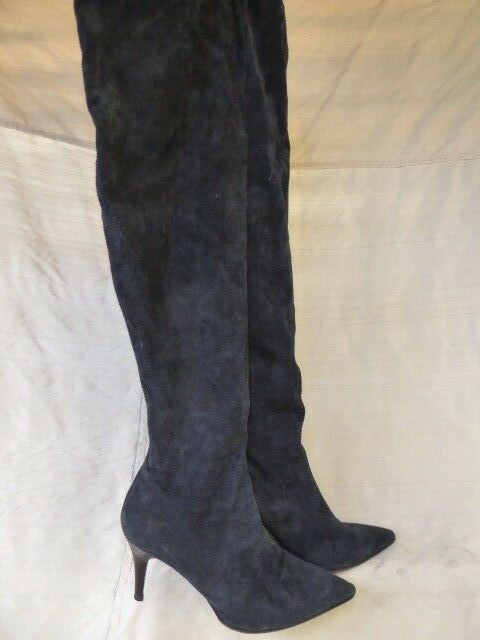 Bottes cuissardes luxe bout pointu  allumino italy 100% cuir stretch marine 39