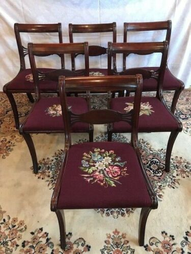 6 Antique Mahogany Duncan Phyfe Needlepoint Seat Formal Dining Room Chairs