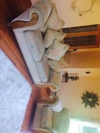 large. sumptious ,comfy 3 seater sofa and two matching armchairs