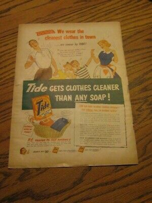 "Original Vintage 1952 TIDE Soap Cleanest Wash Youngstown Kitchen AD 12"" x 8"""