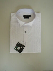 BNWT Lorenzini Men's White Modern Fit Wing Collar Dinner Shirt  Size:42