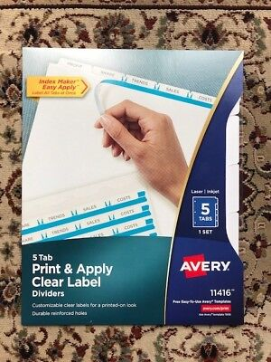 Lot Of 10 New Sealed Avery 11416 Print Apply Clear Label Dividers 5 White Tabs