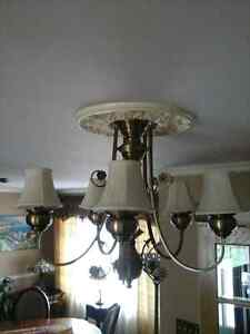 5 shade brass chandelier vintage ceiling light lampe plafonnier
